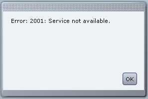 Cisco UCS Error 2001 Service not available