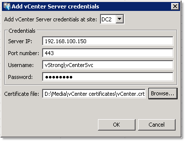 Add vCenter Server credentials
