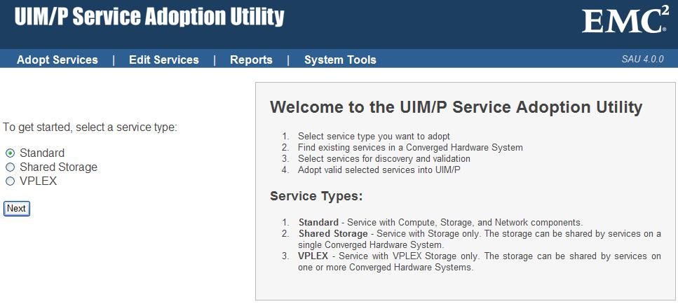 EMC UIM-P Service Adoption Utility