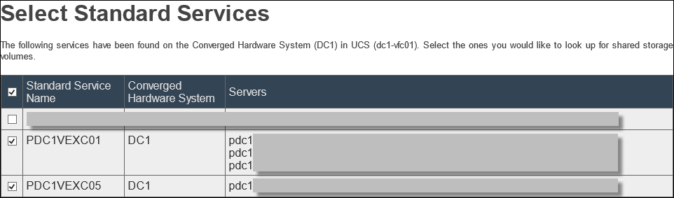 EMC UIM-P Service Adoption Utility - SSS - Select Shared Storage Volumes