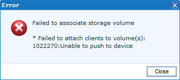 EMC UIM Failed to associate storage volume