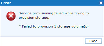 EMC UIM Storage provisioning failed