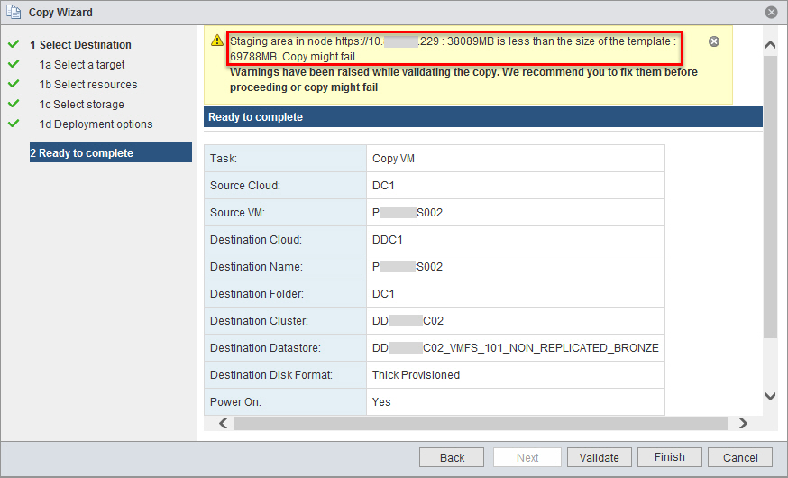 VMware vCloud Connector Pre Copy Validation