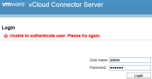 VMware vCloud Connector Server & Node - Unable to authenticate user - Please try again