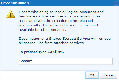 Decommission Shared Storage Service - Confirm