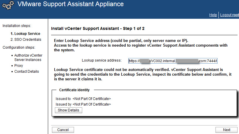 VMware vCenter Support Assistant Appliance - 2