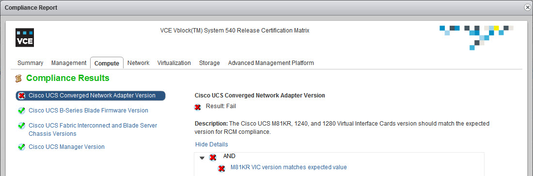 VCE Vision: How to check Vblock System RCM and Security