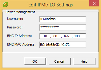 VMware DPM Edit IPMI iLO Settings