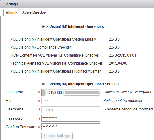 VCE Vision IO Plug-In for vCenter - DC1