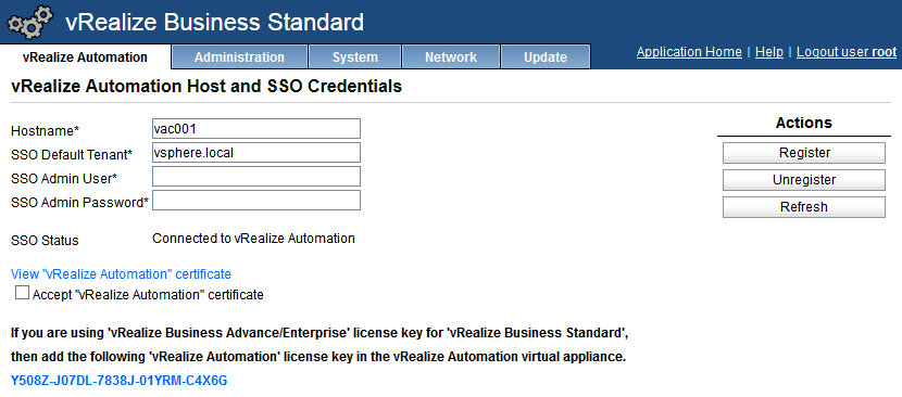 VMware vRealize Business register with vCAC