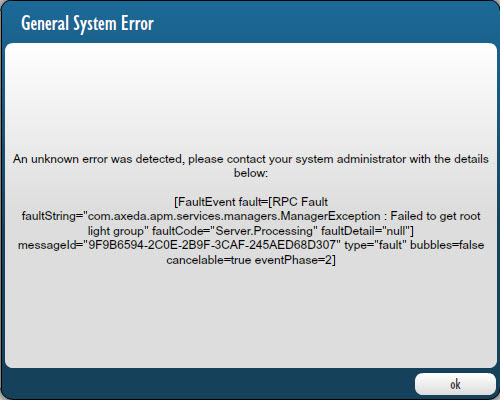 ESRS Policy Manager General System Error