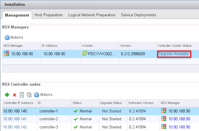 NSX Manager Upgrade NSX Controllers
