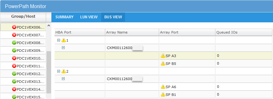 EMC PowerPath Virtual Appliance Version 2.0 SP1 - BUS view