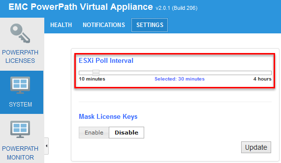 EMC PowerPath Virtual Appliance Version 2.0 SP1 - ESXi poll interval