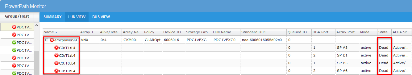 EMC PowerPath Virtual Appliance Version 2.0 SP1 - LUN view