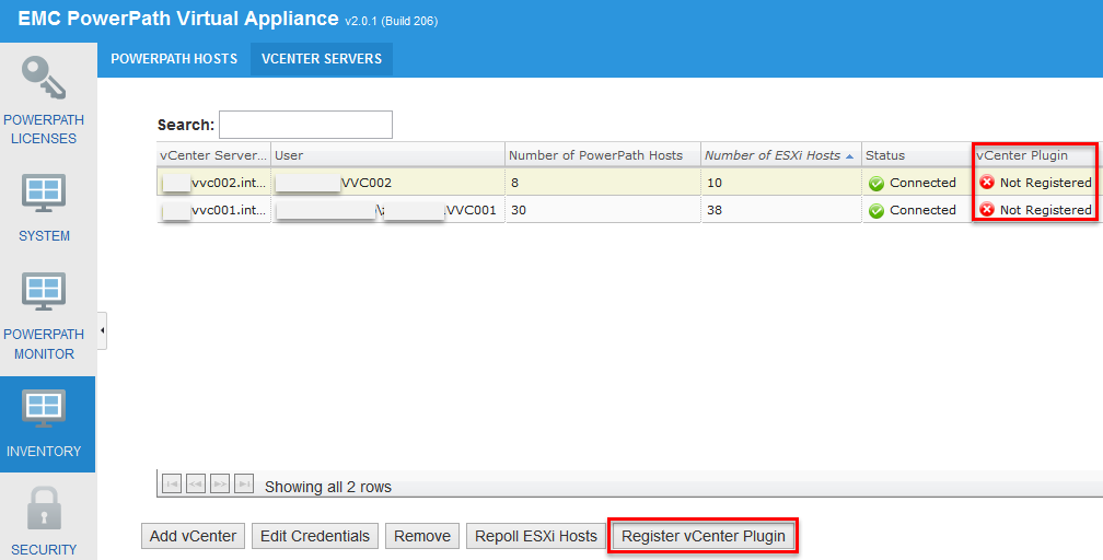 EMC PowerPath Virtual Appliance Version 2.0 SP1 - vCenter Plugin