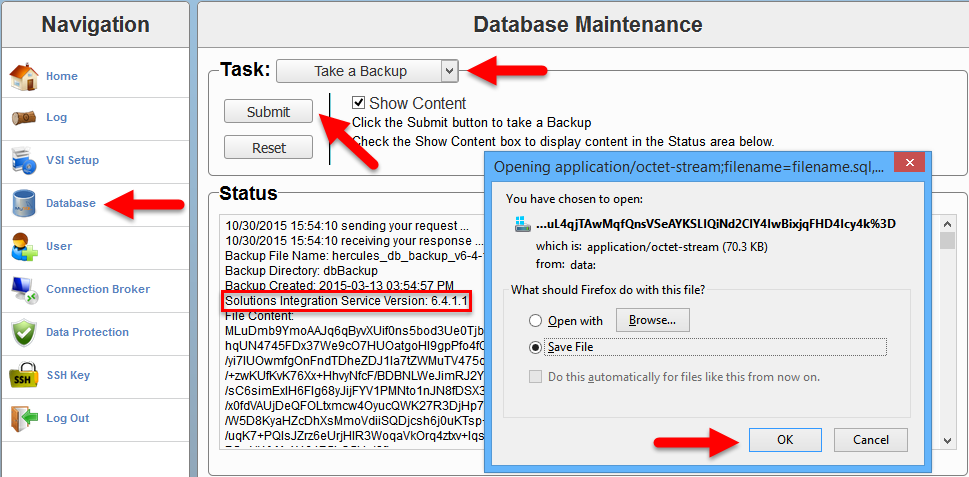 EMC VSI SIS - Database backup