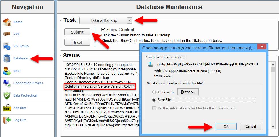 EMC VSI SIS - Database backup