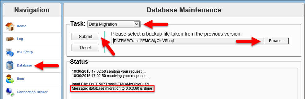 EMC VSI SIS - Database migration