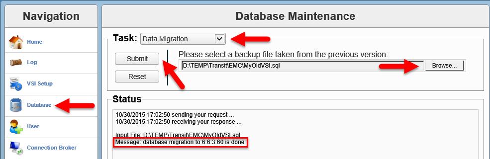 EMC VSI SIS - Database migration