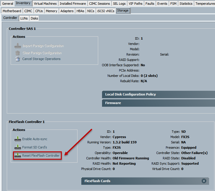 Cisco UCS B200 M4: FlexFlash FFCH_ERROR_OLD_FIRMWARE_RUNNING
